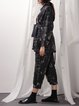 Black Stand Collar Casual Linen Floral-print Coat with Belt