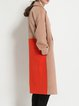 Wool Blend H-line Simple Long Sleeve Color Block Coat
