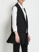 Simple Sleeveless Pleated Lapel Plain Vest