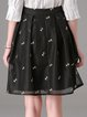 Black Embroidered A-line Girly Pleated Mesh Midi Skirt