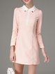 Pink Girly Long Sleeve Pockets H-line Mini Dress