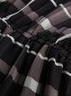 Black Long Sleeve Checkered Chiffon A-line Mini Dress