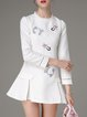 White Cute Embroidered Jacquard Flounce Mini Dress