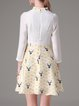 White Girly Printed Polka Dots Stand Collar Mini Dress