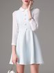Light Blue A-line Girly Peter Pan Collar Paneled Mini Dress