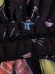 Black 3/4 Sleeve Printed A-line Chiffon Mini Dress