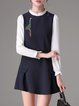 Navy Blue Long Sleeve Stand Collar A-line Mini Dress