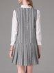 Gray Stripes Pleated 3/4 Sleeve Polyester Mini Dress