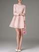 Pink Lace Crew Neck Pierced Long Sleeve Skater Mini Dress
