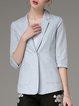 Light Blue Pockets Formal Solid Lapel Blazer