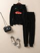 Black Long Sleeve Two Piece Cotton-blend Solid Jumpsuit