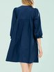 Dark Blue Balloon Sleeve Girly Buttoned Mini Dress