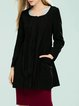 Black Casual Solid Buttoned Crew Neck Long Sleeve Coat