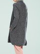 Gray Cowl Neck Long Sleeve Pockets Casual Cardigan