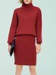 Coral Long Sleeve Solid Two Piece Sweater Dress