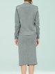 Gray Two Piece Casual Slit Long Sleeve Sweater Dress