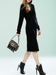 Black Long Sleeve Two Piece Casual Pockets Sweater Dress