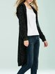 Deep Gray Casual Plain Wool Blend Hoodie Cardigan