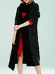 Black Long Sleeve Wool Blend Pockets Cardigan with Scarf