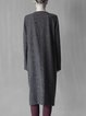 Deep Gray H-line Crew Neck Simple Wool Blend Coat