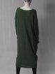 Dark Green Knitted V Neck Simple Wool Blend Midi Dress