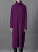Purple Knitted Wool Blend Simple Sweater Dress