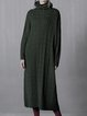 Dark Green Plain Knitted Wool Blend Sweater Dress