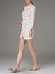 Champagne Paneled Printed H-line Girly Mini Dress
