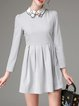 Gray Stand Collar Cute Folds Long Sleeve Mini Dress