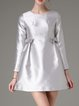 Silver Bow Woven Girly Long Sleeve Mini Dress