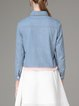 Blue Embroidered Long Sleeve Denim Cropped Jacket