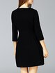 Black Beaded 3/4 Sleeve Plain Mini Dress