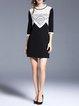 Black Pierced Elegant 3/4 Sleeve Mini Dress