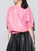 Pink Half Sleeve Leather Crew Neck Cropped Top