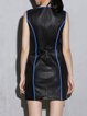 Black Sleeveless H-line Leather Mini Dress