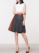 Deep Gray Skater Paneled Wool Blend PU Midi Skirt