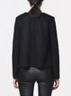Black Leather Wool Blend Solid Long Sleeved Top