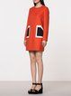 Orange Poakets H-line Wool Blend Long Sleeve Mini Dress