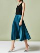 Dark Blue Simple Solid A-line Midi Skirt