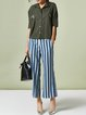 Blue Polyester H-line Stripes Simple Wide Leg Pants