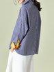 Blue Stripes Cotton Casual H-line Blouse