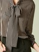 Black Balloon Sleeve Stand Collar Polyester Stripes Blouse