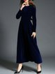 Elegant Long Sleeve Swing Solid Maxi Dress with Belt