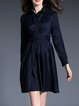 Navy Blue Long Sleeve Solid Bow-tied Shirt Dress