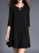 Black Girly Keyhole Flounce Polyester Mini Dress