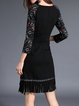 Black Fringed Elegant Asymmetrical Midi Dress with Belt