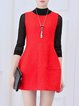 Red Sleeveless Crew Neck Cocoon Cotton-blend Mini Dress