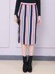 Multicolor H-line Stripes Cotton-blend Midi Skirt