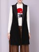 Black Lapel Sleeveless Cotton-blend Gilet