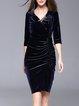 Dark Blue 3/4 Sleeve Gathered Elegant Velvet Midi Dress